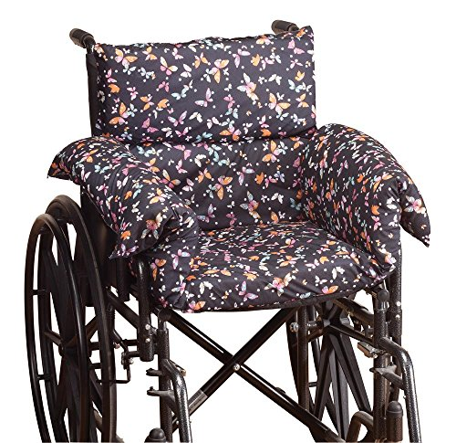 Pressure Reducing Chair Cushion - Comfort Cushion Seat Pad for Wheelchair, Arm Chair, Patio Chair - Machine Wash Polyester/Cotton - Butterfly Pattern