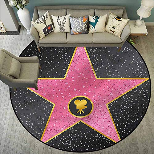 Bedroom Round Rugs,Popstar Party,Walk of Fame Pop,with No-Slip Backing,4