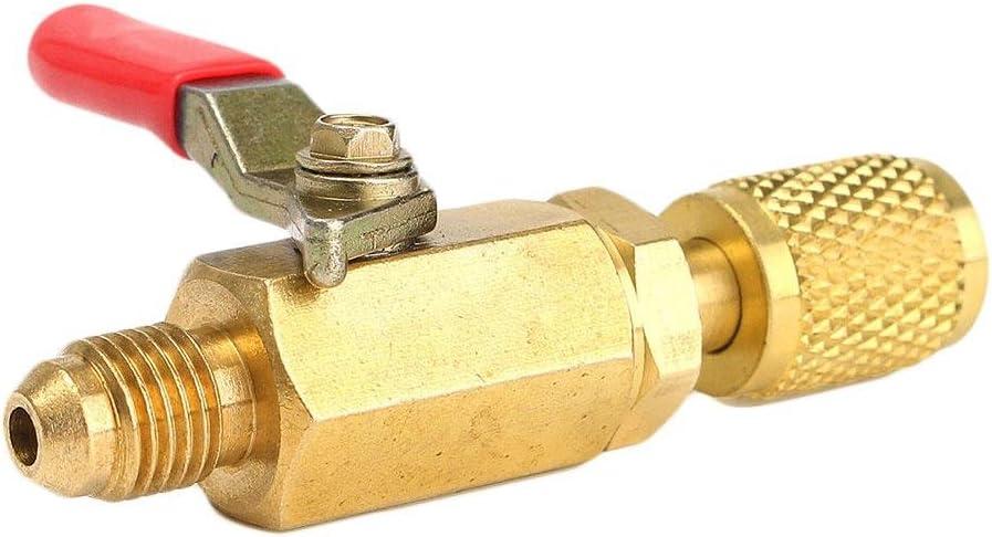 RUNGAO R410A R134a Shut Ball Valves For A//C Charging Hoses HVAC 1//4 AC Refrigerant