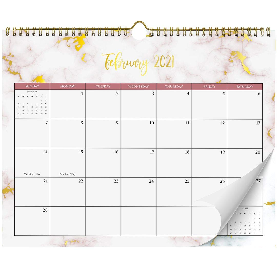 Aesthetic Marble Gold Foil Wall Calendar - Easy Write Office Desk Supply for Women Incl. Year 2021