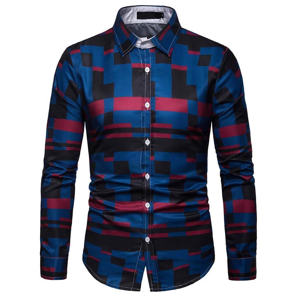 NUWFOR Men's Long Sleeve Lattice Plaid Painting Large Size Casual Top Blouse Shirts(Navy,XL US/3XL AS Bust:43.2'')