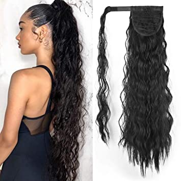 LEOSA 20 Inch Long Curly Ponytail Hairpiece