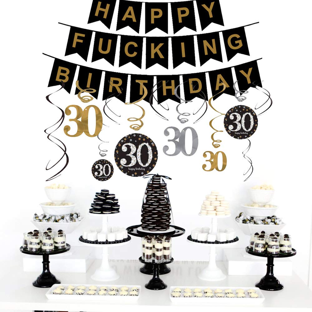 30th Birthday Decorations Gifts for Her Him(Men Women) - Dirty 30 Birthday Party Supplies - Happy F*ing Birthday Banner and Hanging Swirls by Brillex (Image #6)