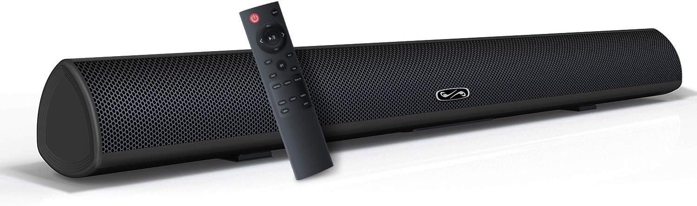 Sound Bar, BYL, BESTISAN Soundbar for TV, Wired & Wireless Bluetooth 5.0 Speaker, Home Theater Surround Sound System (28 Inch, Infrad Remote Control, DSP, Bass Adjustable) (Renewed) Title