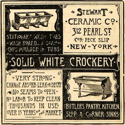 1891 Ad Stewart Ceramic Slop Corner Sinks Wash Tubs NY - Original Print Ad from PeriodPaper LLC-Collectible Original Print Archive