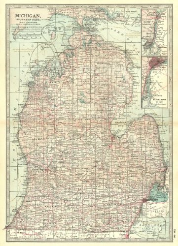 Michigan. South; Inset Detroit, St Clair River - 1903 - Old map - Antique map - Vintage map - Printed maps of Michigan ()