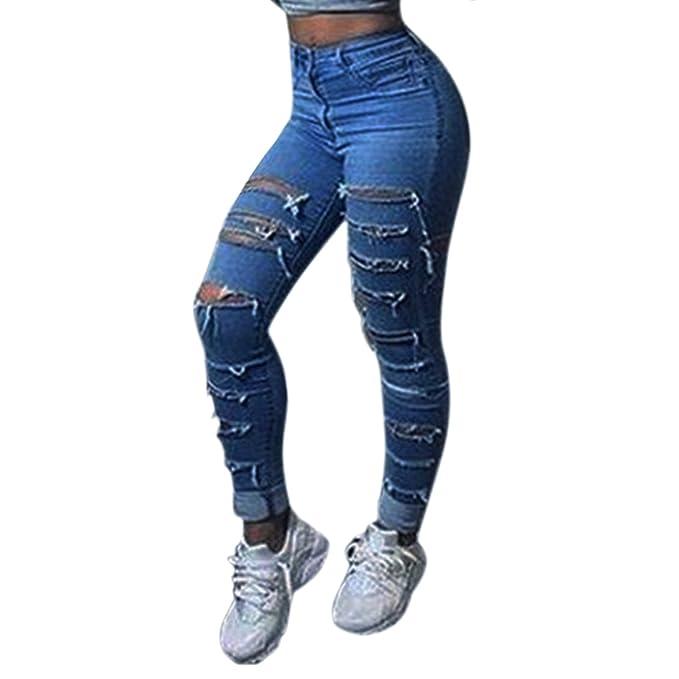 West See Damen Ripped Washed Denim Jeans Hose Risse Jeanshose Skinny  Röhrenjeans Bleistifthose (EU 40 e37f3eb58c