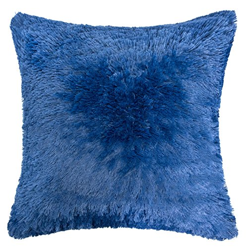 Homey Cozy Faux Fur and Flannel Decorative Pillow, Super Soft Shaggy Fleece Fuzzy Lightweight, Feather Filled ,  Blue, ()