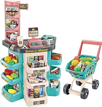 Juego de carrito de compras de caja registradora de juguete para niños,Caja registradora de juguetes educativos con escáner, máquina de tarjetas de crédito, cesta de compras,Regalos de niño y niña: Amazon.es: Hogar