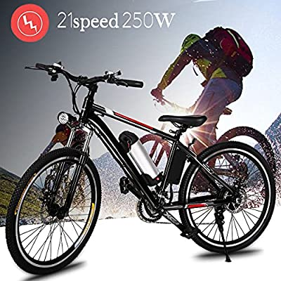 """Garain 21-speed Electric Mountain Bicycle E bike With 26"""" Wheel, Removable 36V Large Capacity Lithium-ion Battery, Battery Charger (US Stock Black)"""