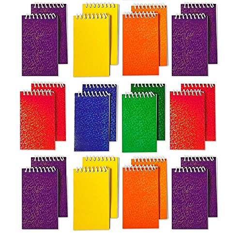 Kicko Spiral Prism Notepads - 2.25 X 3.5 Inches - 20 Pages Each - Pack of 24 - Assorted Colors Mini Spiral Bound Memo Pad, Pocket Size - for Kids Great Party Favors, Bag Stuffers, Fun, Gift, Prize ()
