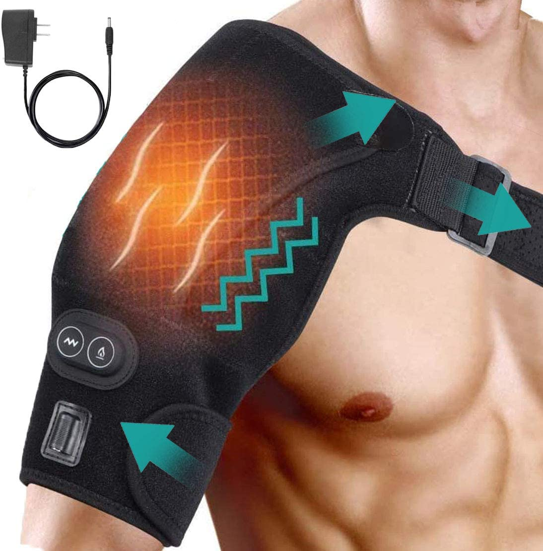 ORANDSIGNE Shoulder Wrap Brace Heating Pad Portable Adjustable Electric 3 Heat Settings Support Hot Therapy Pain Relief
