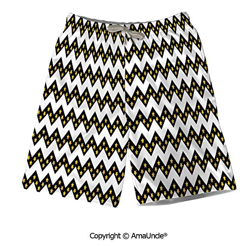 Lightweight Beach Shorts Trouser Pants,Black Zig Zag Chevron Pattern with Inner ()