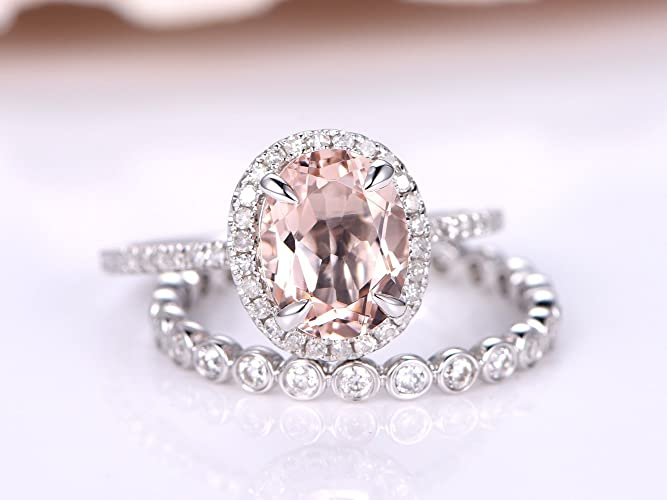 Amazon Com 2 Natural Peach Pink Morganite Engagement Ring Set 6x8mm
