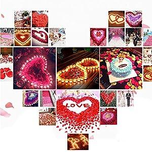 Colorfulife Simulation Rose Petals, 1200pcs Artificial Silk Rose Petal Flower Bridal for Wedding Party Valentine Supplies Room Decoration Centerpieces Confetti (5# Purple Red) 2