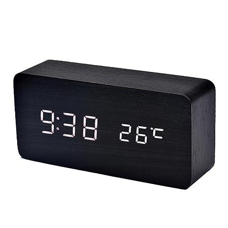 WINWINTOM Reloj Sólidos LED de control digital de la temperatura (Blanco)