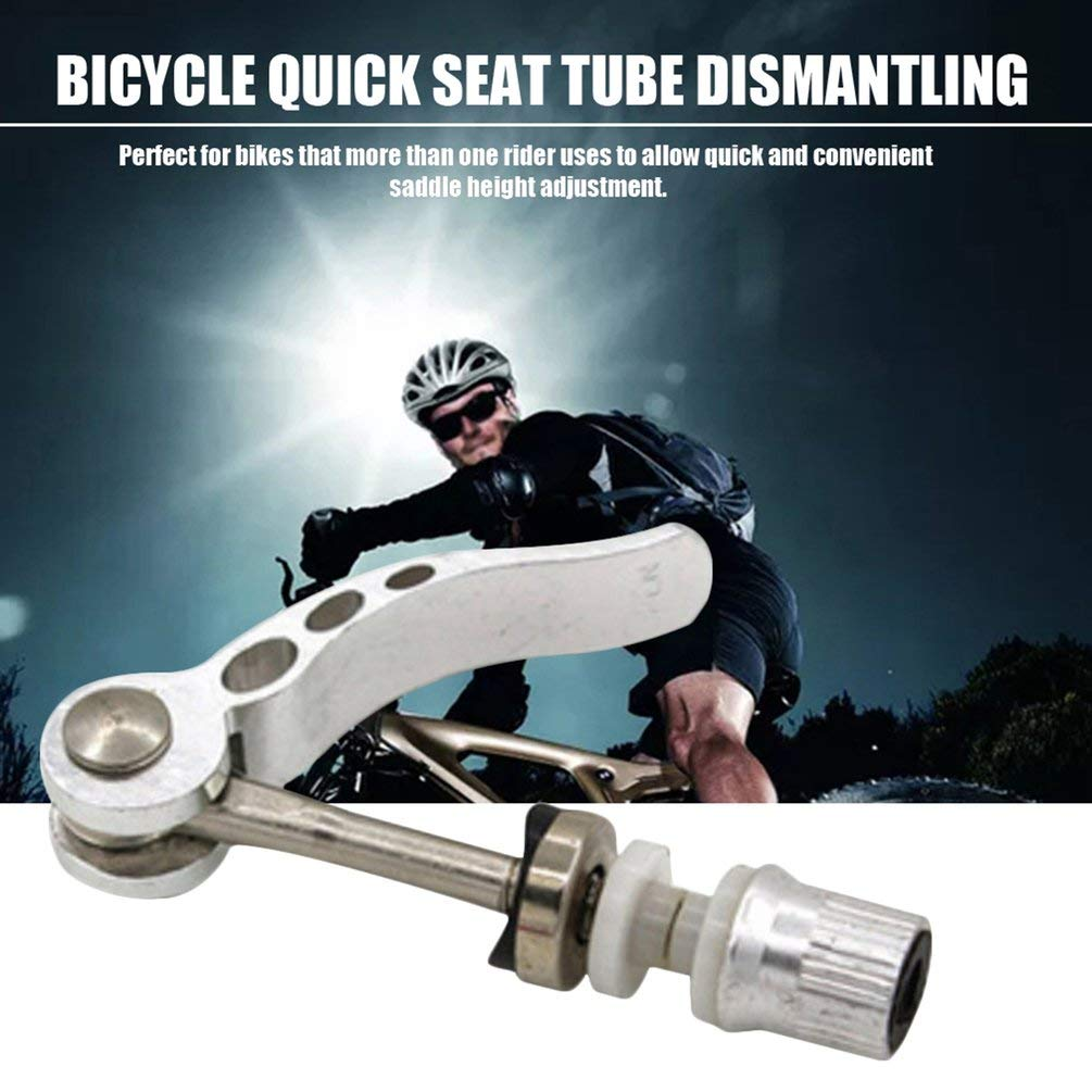 Bike Quick Release Adjustable Seatpost Clamp Seat Post Screw Bolt Lever Silver
