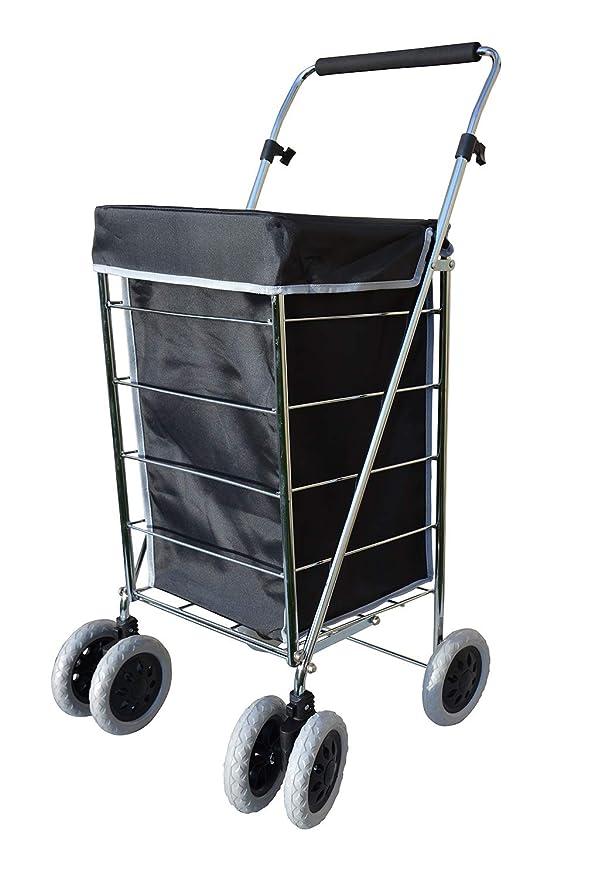 Alexander Graham Exclusivo Alta Calidad 6 - Rueda de Carro de la compra con mango ajustable giratorio - Gran bolsa de la compra, pero fácil de usar y de ...
