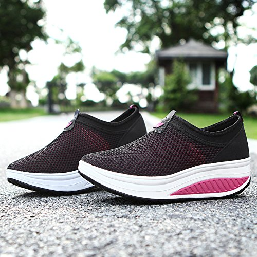 Sneakers EnllerviiD 809 Women Up Fitness Shape On Slip Rose Toning Shoes Walking Mesh Platform Black 7P7Crw
