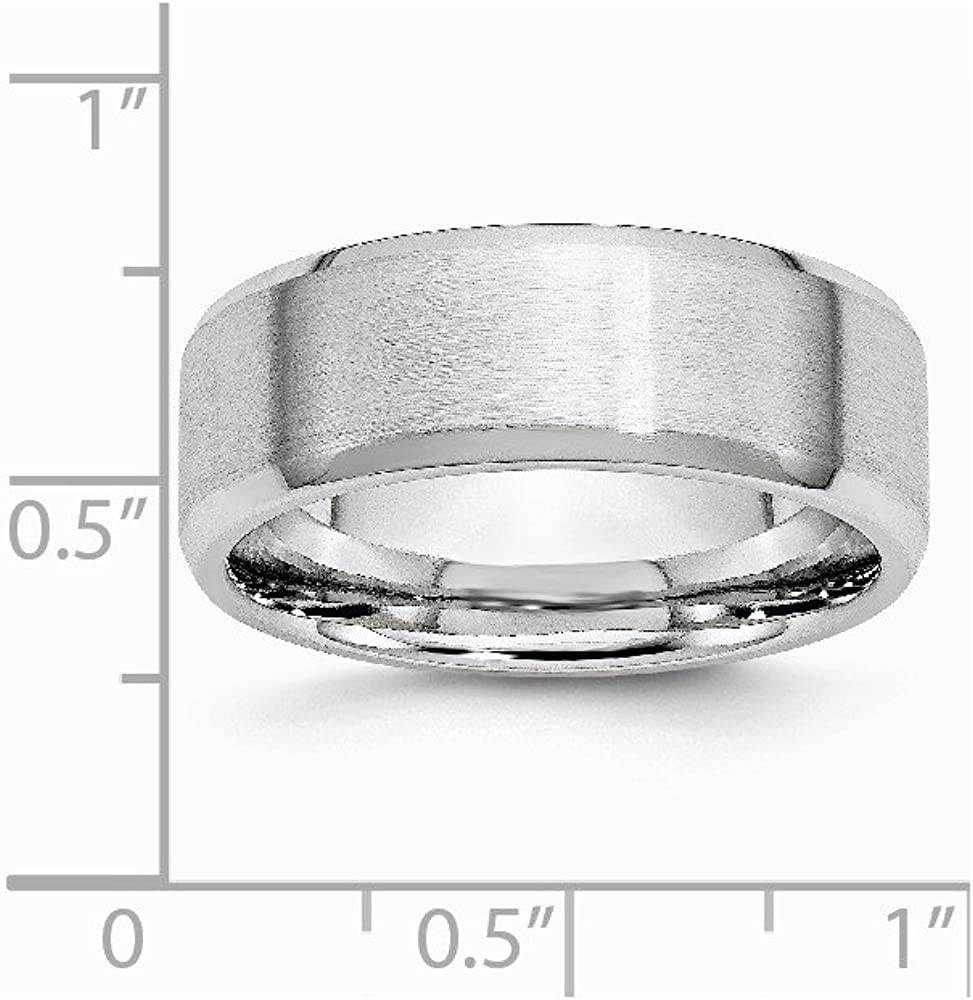 Cobalt Beveled Edge Satin and Polished 8mm Band Size