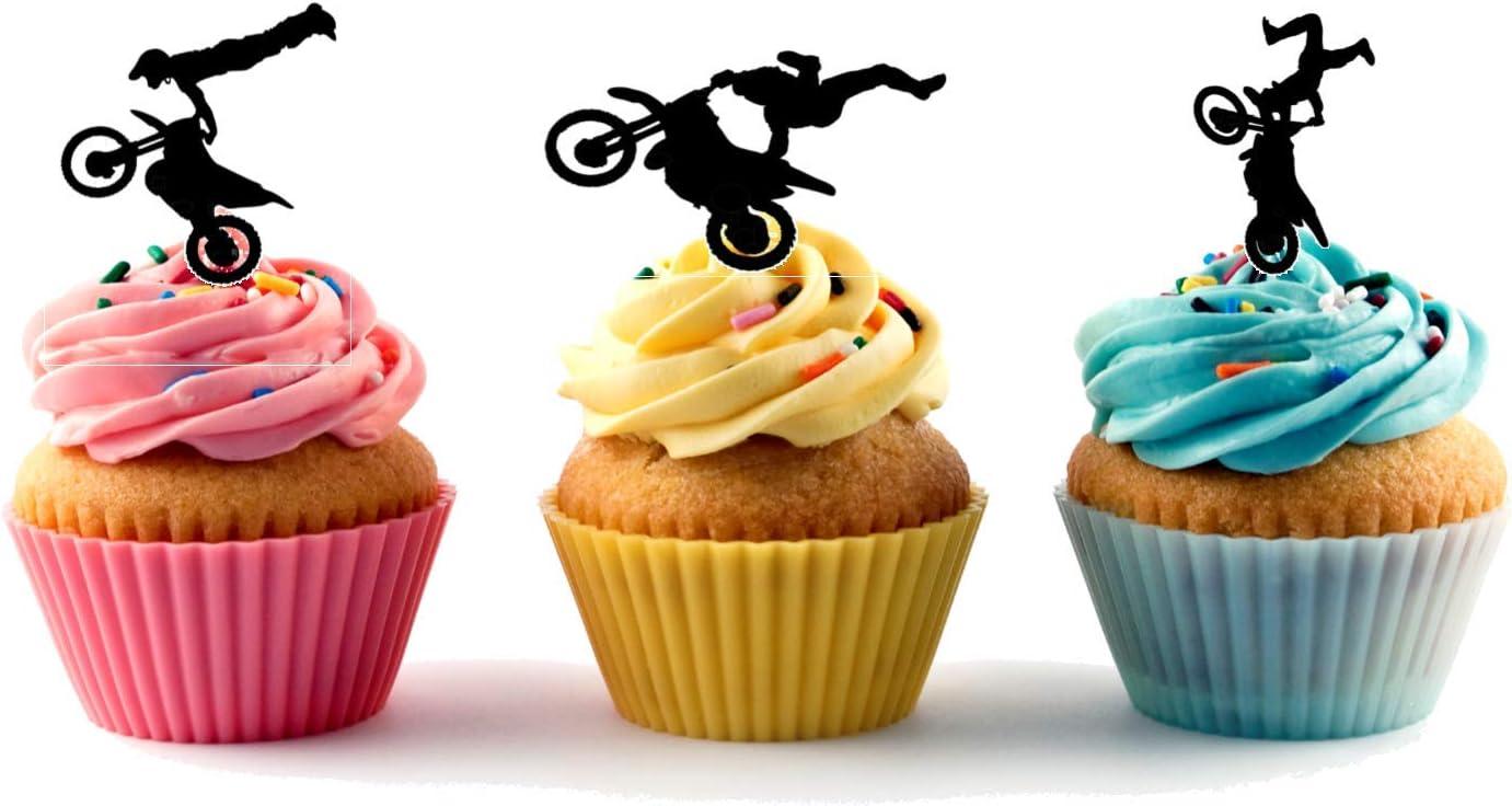 acr/ílico Cake Topper Feliz Cumplea/ños Pastel de silueta de acr/ílico Silueta de La Boda Pastel de Acr/ílico Feliz cumplea/ños postre Cupcake Topper fiesta Cupcake Topper Cumplea/ños Postre 6 piezas