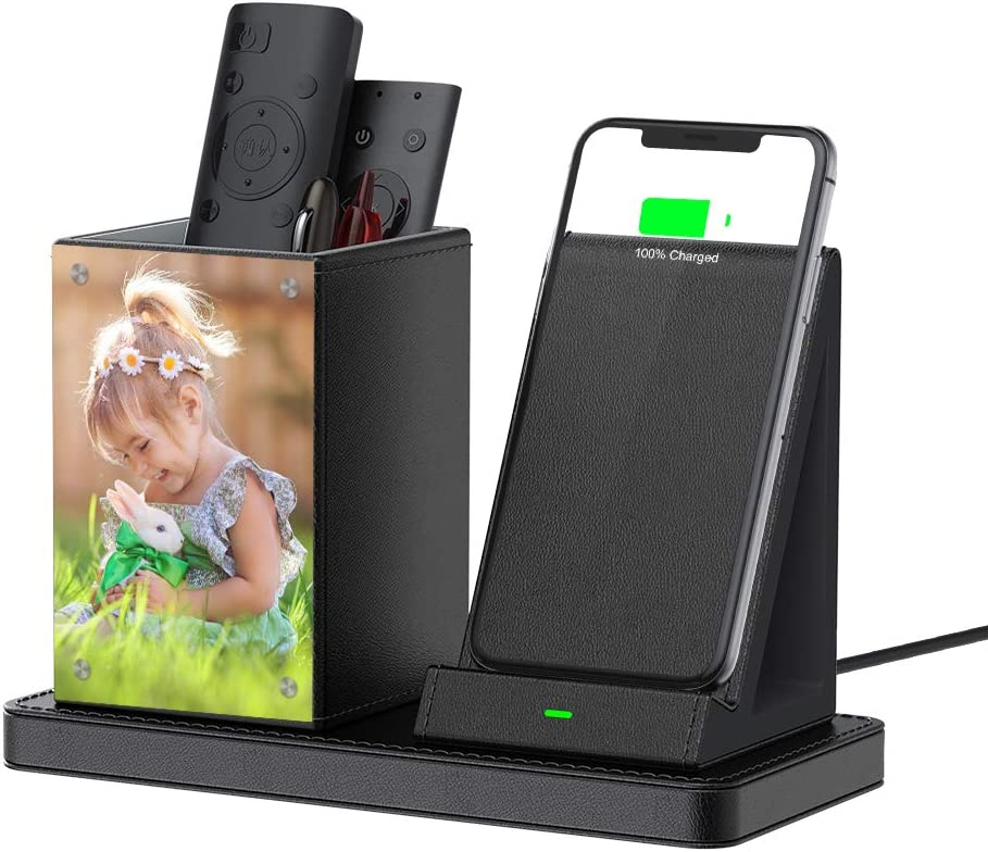 Desk Picture Frame Stand Pen Phone Holder Organizer with Integrated 10W Charger for iPhone/Samsung, Wireless Charging Smart Phones Station for Home and Office Gift (with QC3.0 AC Adapter) - Black