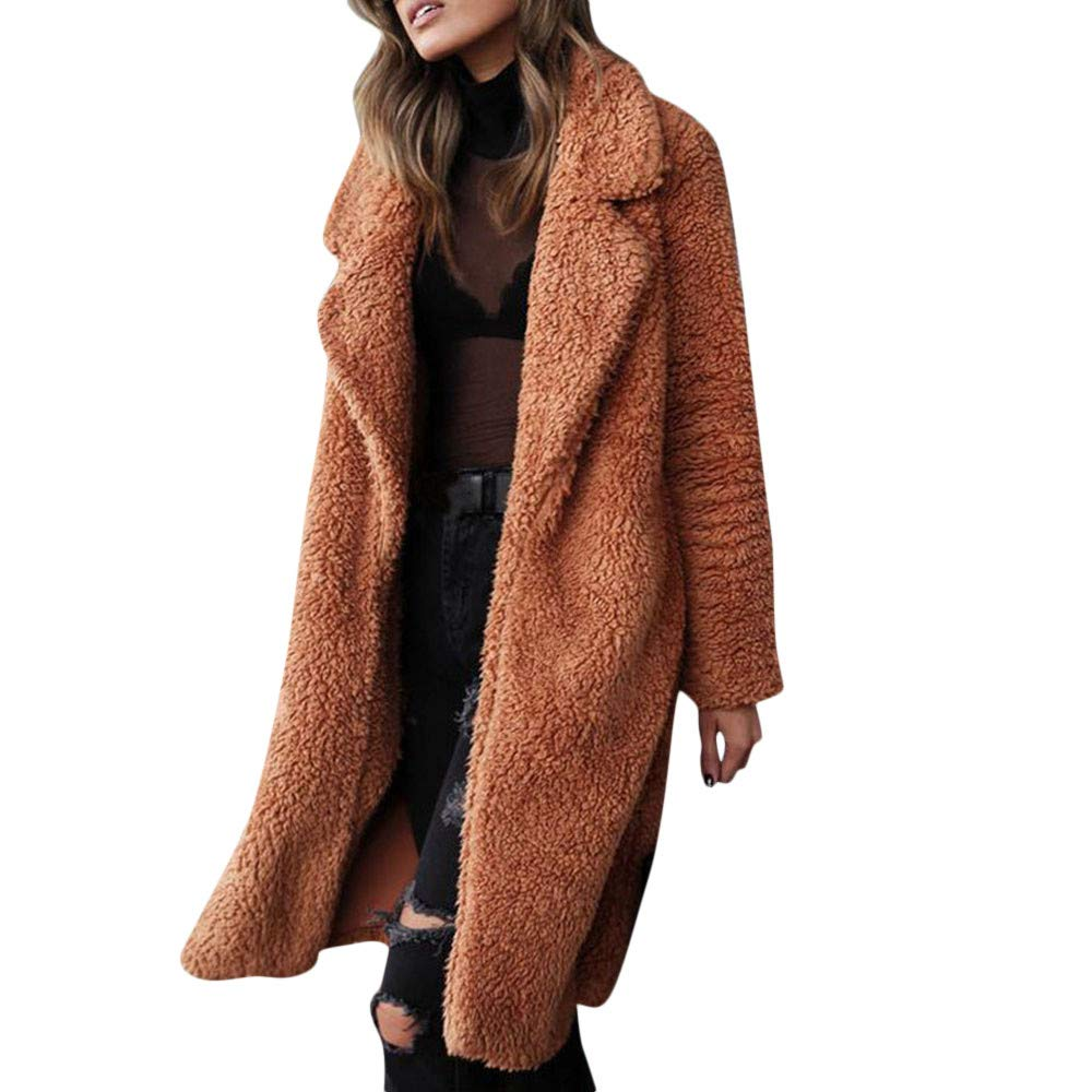 Funnygals - Womens Fluffy Tops Jacket Long Sleeve Open Front Cardigan Faux Fur Fleece Coat Outerwear for Winter Autumn Khaki by Funnygals - Clothing