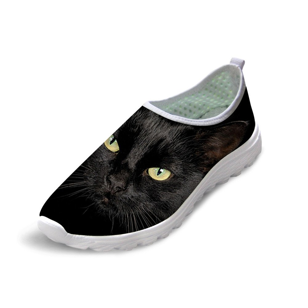 FOR U DESIGNS Black Cat Style Women's Mesh Lightweight Comfortable Running Shoes US 8