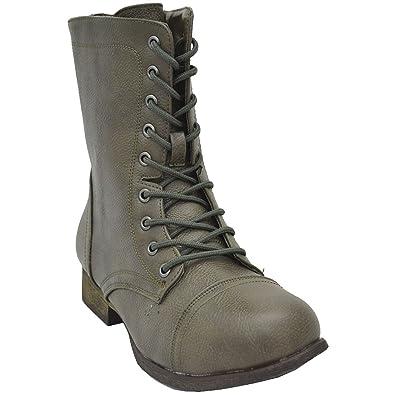 Women's Surprise-13 Lace Up Combat Boots Mushroom