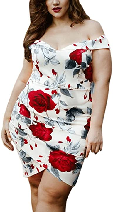 Overdose Robe Grande Taille Femme Robe A Epaules Nues Sexy Bardot Imprime Floral Mini Dress Amazon Fr Vetements Et Accessoires
