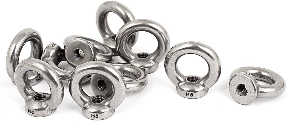 Aexit M8 Female Chain /& Rope Fittings Thread Marine Metal Lifting Eye Nuts Wire Rope Clips Ring 10pcs