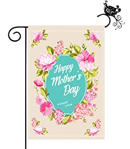 Yuiviot Garden Yard Flag 12 x 18inch,Happy Mother's Day Theme,Double Sided Summer Seasonal Flag,Home Carnation Flower Decor,Unfading Resistant Weatherproof Polyester for Outside Backyard, Lawn,Patio,Mailbox