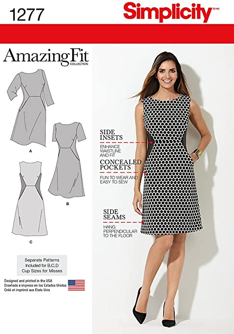Simplicity 1277 Size BB Miss Amazing Fit Dress Sewing Pattern ...