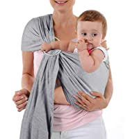 4 in 1 Baby Wrap Carrier and Ring Sling - Charcoal Gray Cotton - Use as a Postpartum Belt and Nursing Cover with Free…