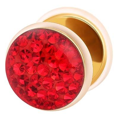 Dilatador Falso Piercing Plug Dorado, Pendiente, Multi Cristales Rojos: Amazon.es: Joyería