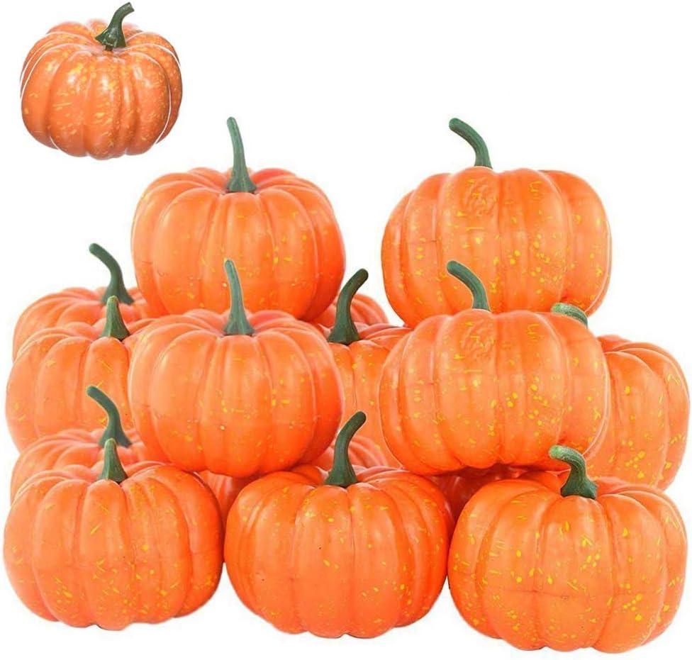 Lainrrew 12 Pcs Mini Artificial Pumpkins, Fall Harvest Simulation Pumpkins Decor Fake Fruit Home Decor for Halloween Thanksgiving Party Decorations (Orange)