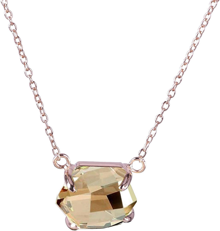 KELITCH Joyería Mujeres Cristal Piedra Preciosa Colgante Collar - 18k Oro/Rosa Oro/Blanco Oro