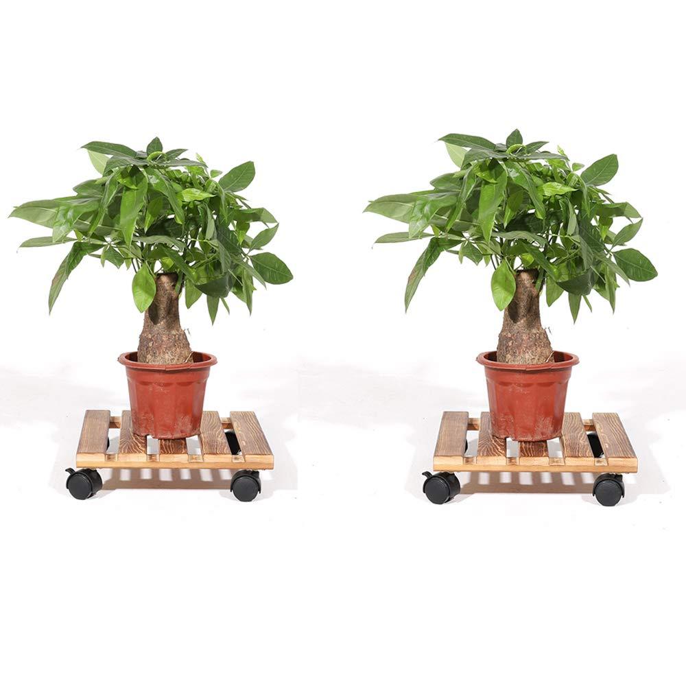 Malayas 2PCS Soporte para Macetas de Madera con 4 Ruedas Universales Base Móvil de Plantas Flores para Jardín Hogar Interior Exterior 30 x 30cm: Amazon.es: ...