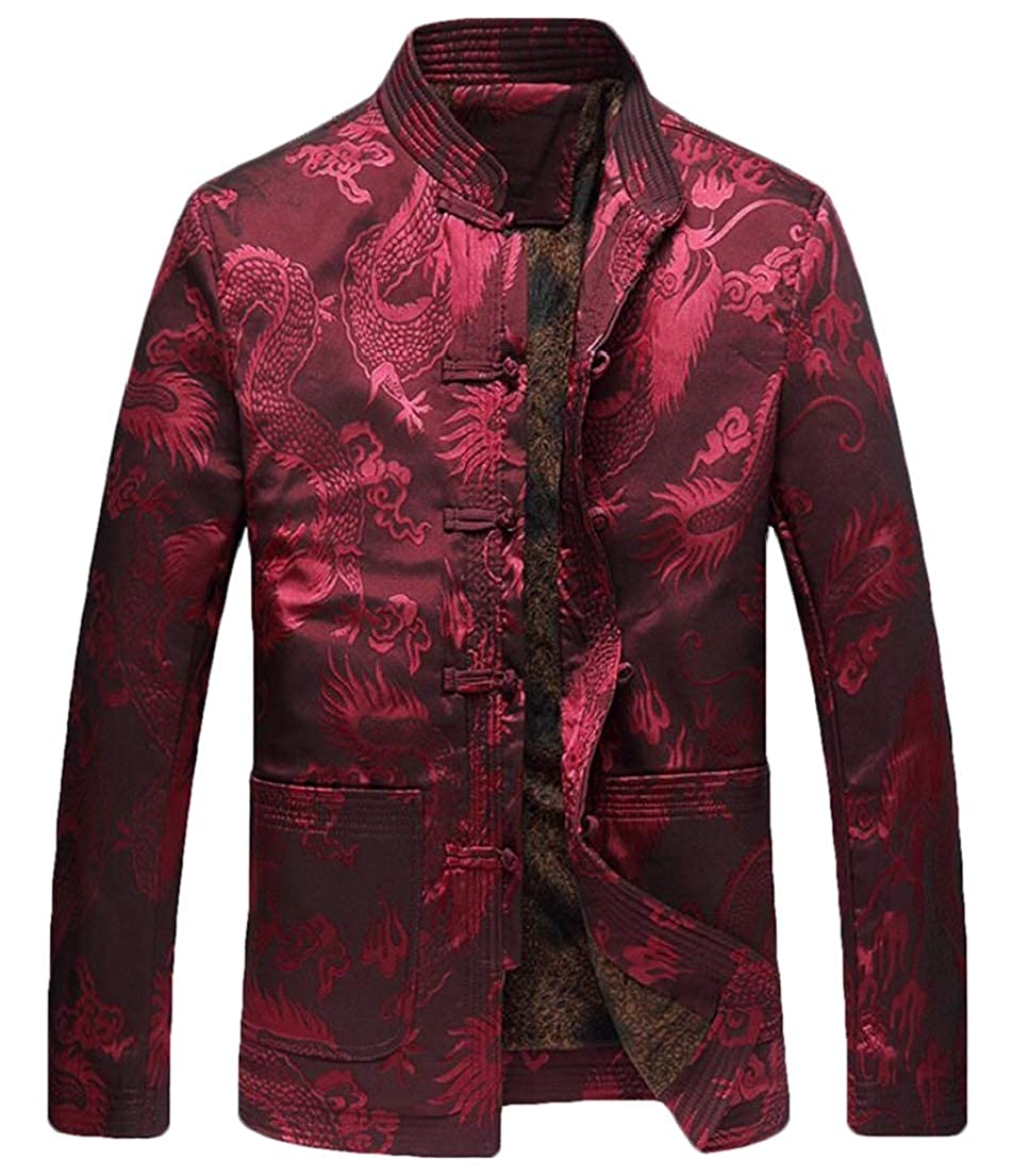 Frieed Mens Buttons Chinese Style Thicken Stand Collar Fleece Linen Print Jacket