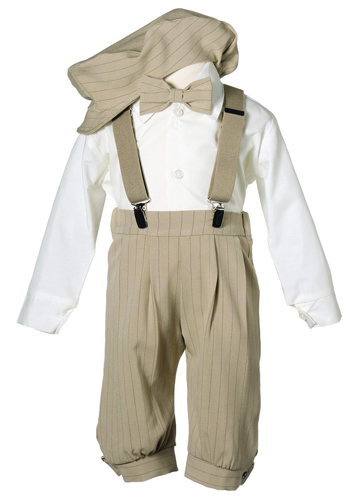 Toddler Boys Knicker Set with Suspenders and Hat - Vintage Tan Stripe 3T