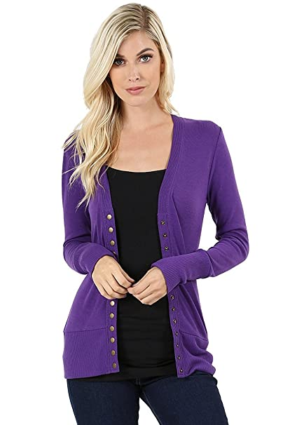 NWQA-Women Women s Snap Button Sweater Cardigan with Ribbed Detail at  Amazon Women s Clothing store  e9136dda5