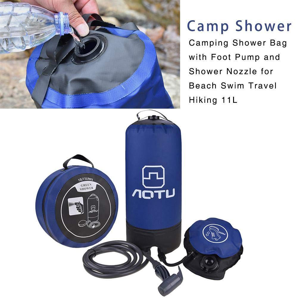 Reisen Wandern Surfen Camping Duschtasche mit Fu/ßpumpe f/ür Beach Swim 11 Liter Tragbare Druck-Campingdusche