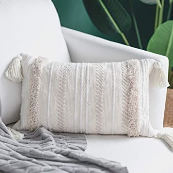 Blue Page Lumbar Small Decorative Throw Pillow Covers For Couch Sofa Bedroom Living Room Woven Tufted Boho Pillows Cover With Tassels Cute Farmhouse