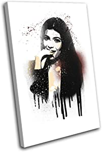 Bold Bloc Design - Kylie Jenner Grunge Iconic Celebrities 120x80cm SINGLE Canvas Art Print Box Framed Picture Wall Hanging - Hand Made In The UK - Framed And Ready To Hang