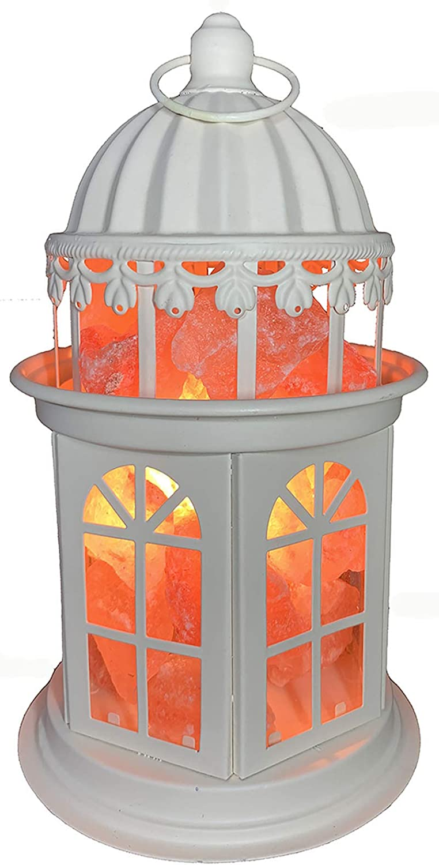 Salt Lamp, Natural Himalayan Salt Lamp with Metal Tower, Himalayan Pink Salt Lamps, Himalayan Salt Lamps, Crystal Rock Salt Night Lights with Dimmer (White)
