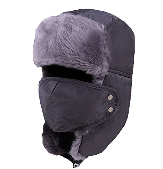 cd60bcc562bd24 Amazon.com: Holyhigh Men & Women Unisex Trapper Trooper Aviator Ski Hat  Earflap Warm Winter Outdoor Caps With Mask - Dark Grey: Clothing