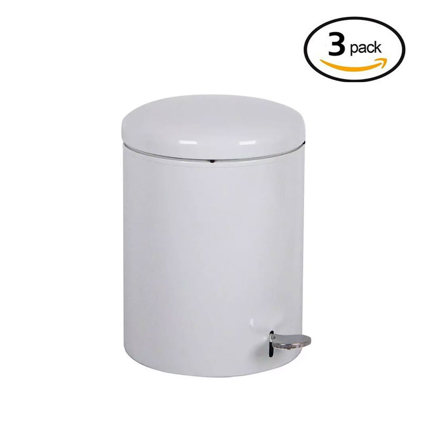 Witt 2240WH Stainless Steel Step On Metal Biohazard Waste Container, 4gal Capacity, 11-1/2 Diameter x 16'' Height, White (Set of 3)