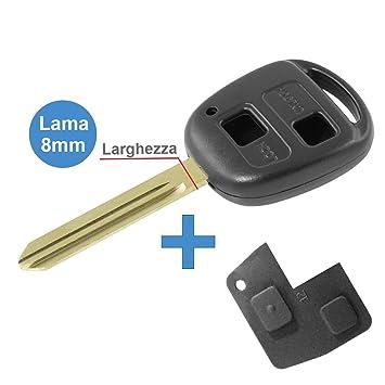 Carcasa para llave con mando a distancia - Color negro - 2 botones Para Toyota