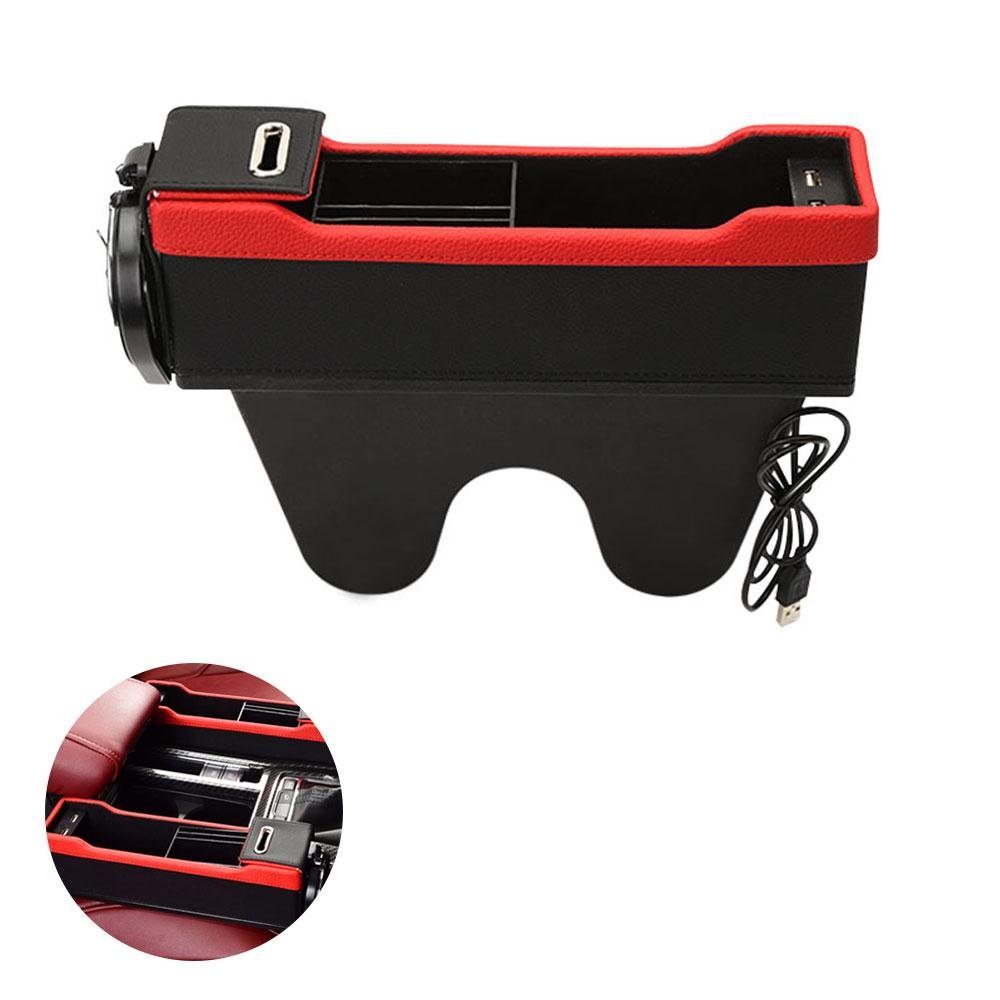Console Side Pocket with Coin & Cup Holder, Car Seat Organizer Caddy Slit Gap Filler PU Leather, Stop Before It Drops (Black + Red, Driver's Side) Driver' s Side) Kobwa