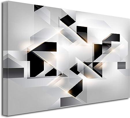 DECLINA, Décoration Murale Tableau, Tableau Deco Home, Tableau Deco Murale  Salon, Tableau Toile Abstrait Origami 80x50 cm Noir et Blanc
